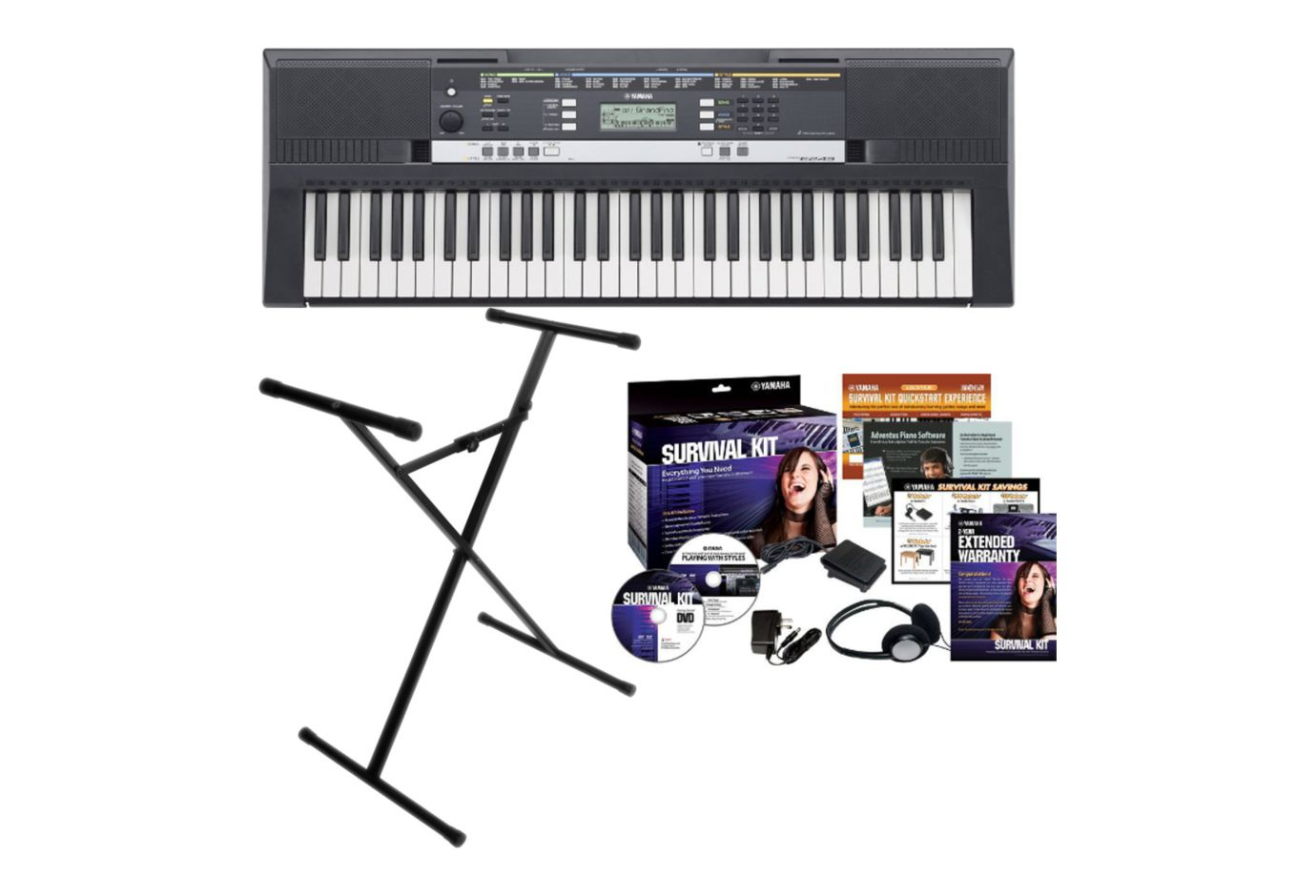 Yamaha PSR E253 Portable 61 Key Keyboard Bundle