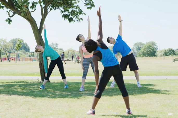 A group of people stretching