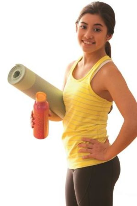 Student with yoga mat