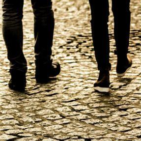 Walking on cobblestones