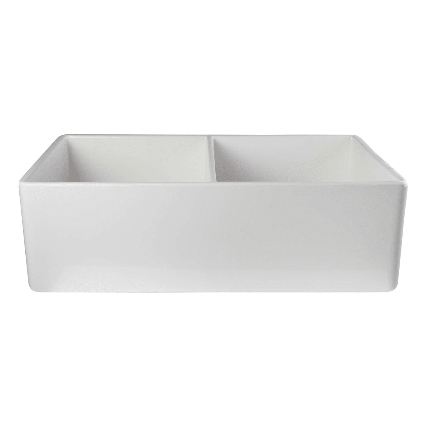 White  Smooth Double Bowl Fireclay Farmhouse Kitchen Sink Alfi