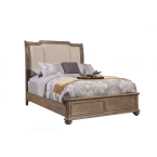 Alpine Melbourne French Truffle Queen Sleigh Bed with Upholstered Headboard