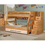 Chelsea Home Cinnamon Twin Over Full Bunk Bed with Staircase Chest