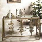 Grace Collection Burnished Copper Rose Garden Desk with Glass Insert