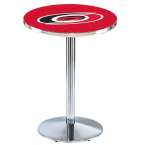 "Holland Bar Stool 36"" Chrome Carolina Hurricanes Pub Table with Round Base"