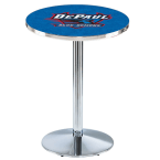 "Holland Bar Stool 42"" Chrome DePaul University Pub Table with Round Base"
