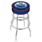 "Holland Bar Stool 30"" Edmonton Oilers Cushion Seat Swivel Bar Stool with Double-Ring Chrome Base"