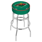 "Holland Bar Stool 30"" Minnesota Wild Cushion Seat Swivel Bar Stool with Double-Ring Chrome Base"