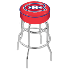 """Holland Bar Stool 30"""" Montreal Canadiens Cushion Seat Swivel Bar Stool with Double-Ring Chrome Base"""