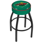 "Holland Bar Stool 25"" Minnesota Wild Cushion Seat Swivel Bar Stool with Black Wrinkle Base"