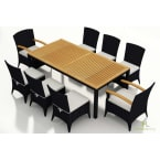Harmonia Living Arbor 9-Piece Dining Set with Canvas Natural Cushions