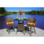 Tortuga Outdoors Sea Pines Bar Set in Java Wicker with Rave Spearmint Cushions