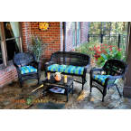 Tortuga Outdoors Portside 4 Piece Seating Set in Dark Roast Wicker with Haliwell Caribbean Cushions