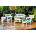Tortuga Outdoors Portside 6 Piece Seating Set in White Wicker with Haliwell Caribbean Cushions