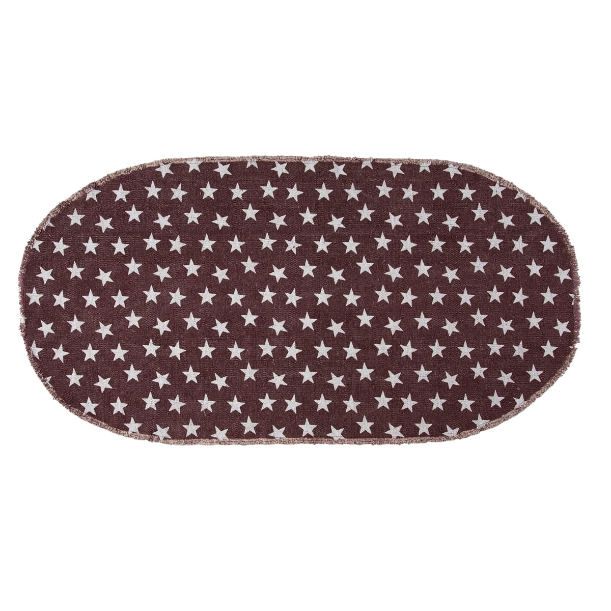 Multi Star Red Cotton Rug Oval
