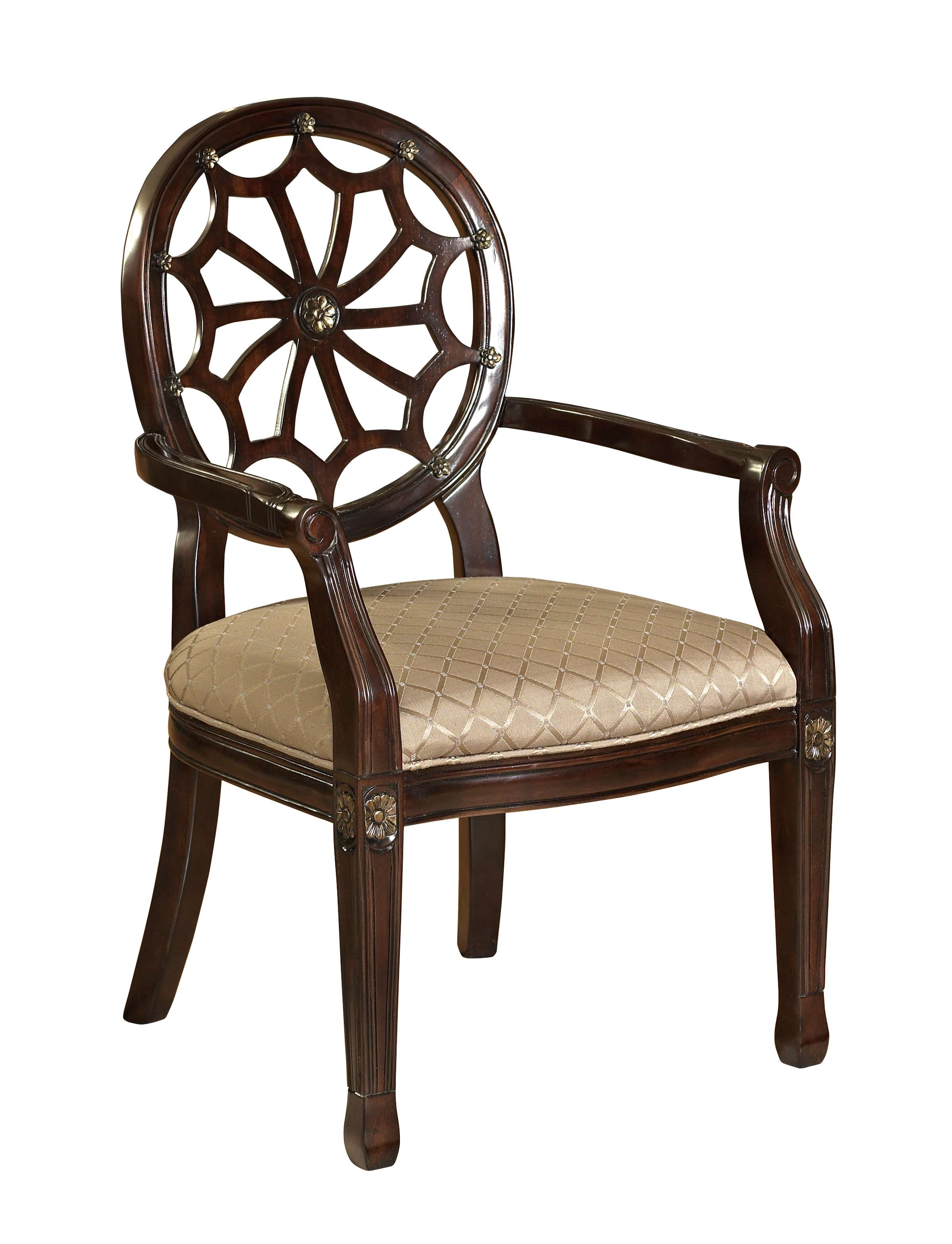 Brown Spider Web Back Accent Chair