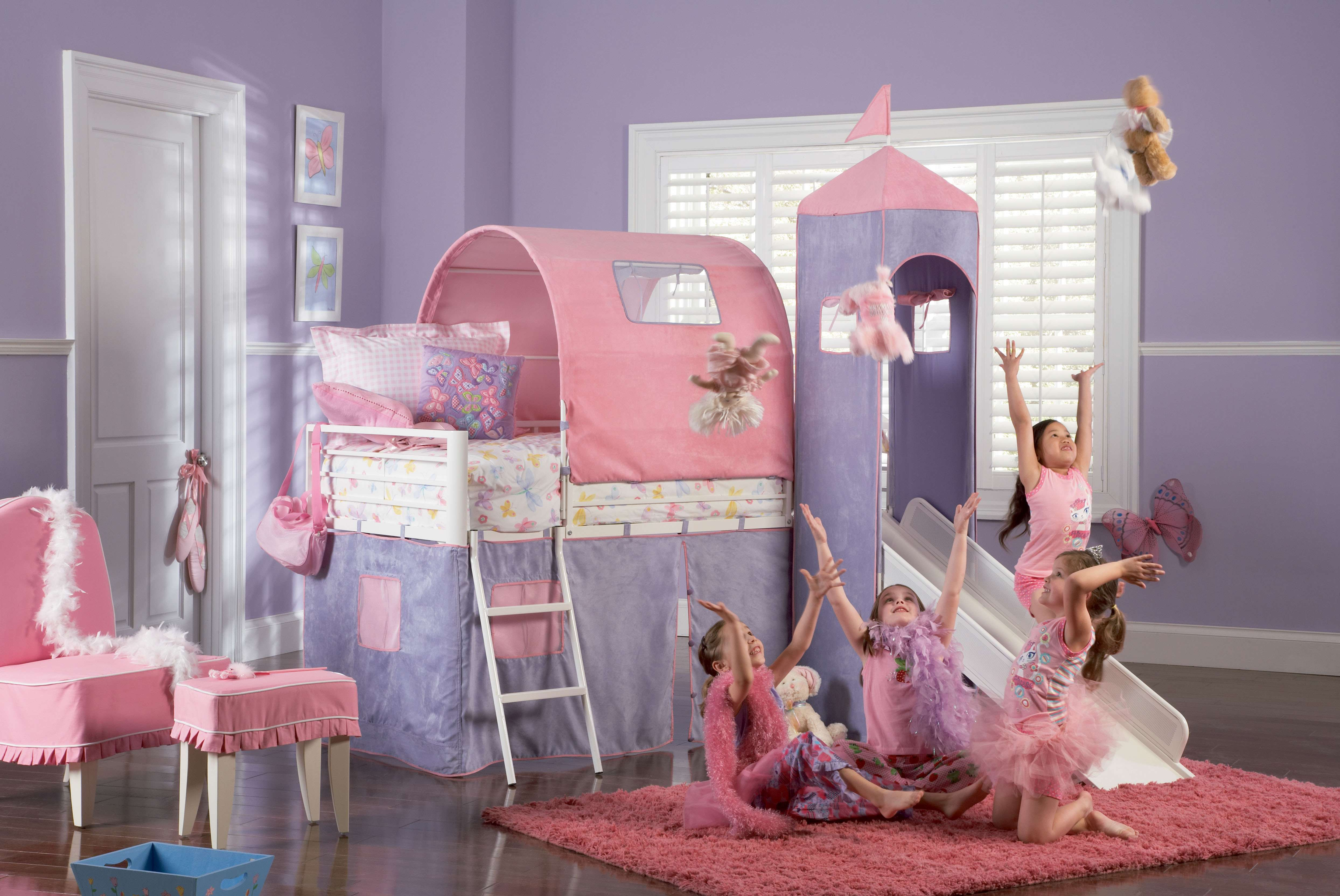 Powell White Princess Castle Twin Size Bunk Bed with Slide & Reviews