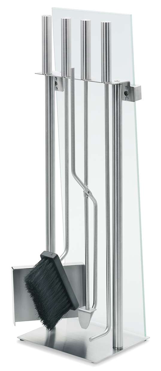 Chimo Matte Silver 5 Piece Fireplace Set with Glass Front