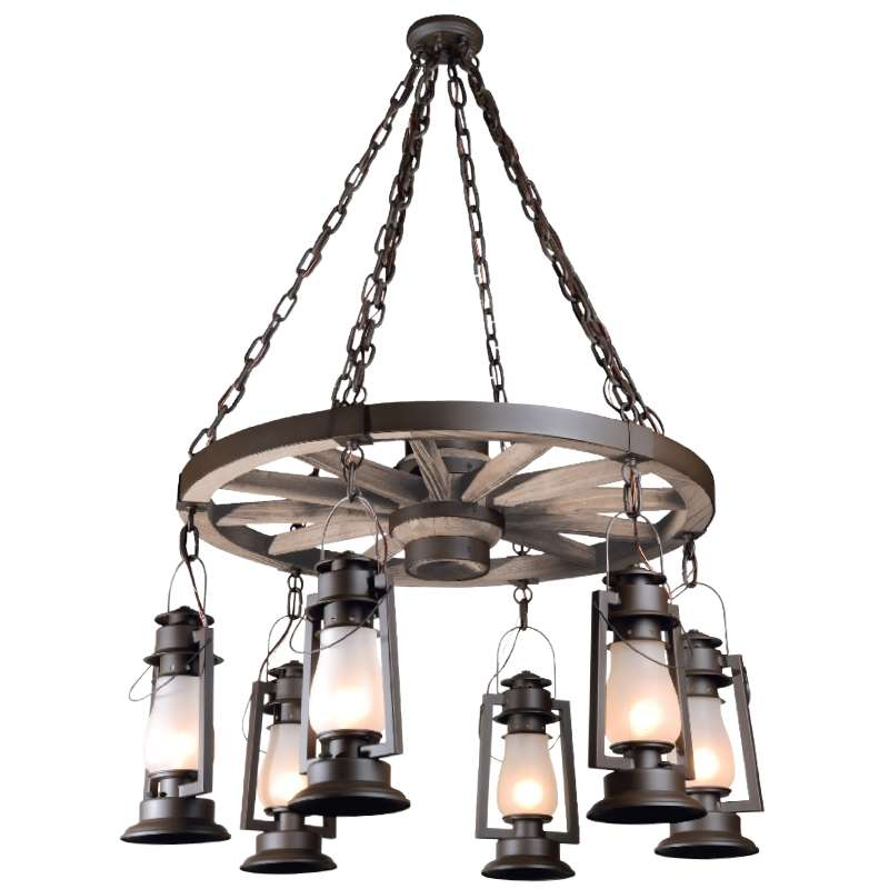 Pioneer Architectural Bronze Wagon Wheel Chandelier with Frosted Glass and 6 Bottom Lanterns