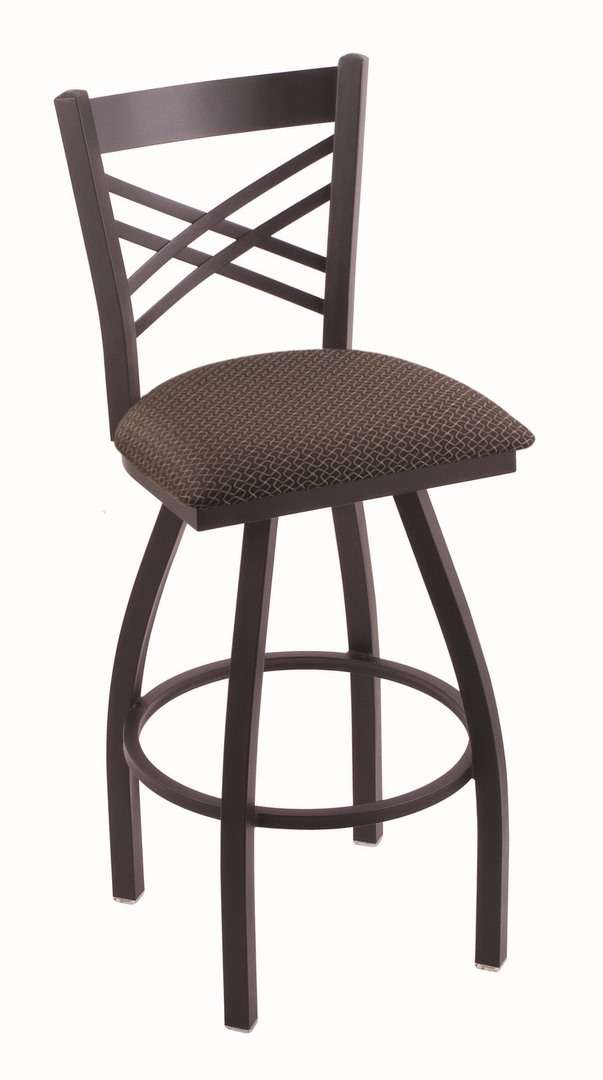 "820 25"" Catalina Black Wrinkle Swivel Stool with Axis Truffle Seat"