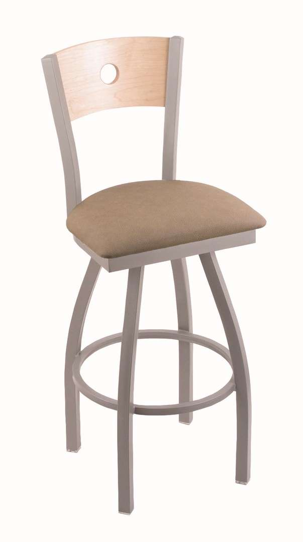 """830 25"""" Voltaire Anodized Nickel Swivel Stool with Natural Maple Back and Rein Thatch Seat"""