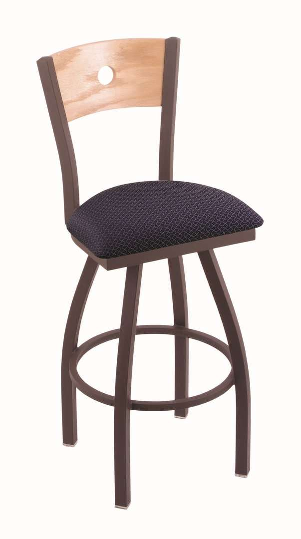"""830 36"""" Voltaire Bronze Swivel Stool with Natural Oak Back and Axis Denim Seat"""