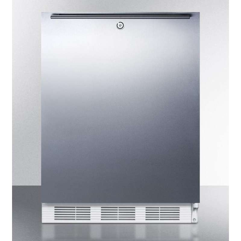 """AccuCold 24"""" 5.1 cu. ft. Stainless Steel Built-In Undercounter Compact Refrigerator"""