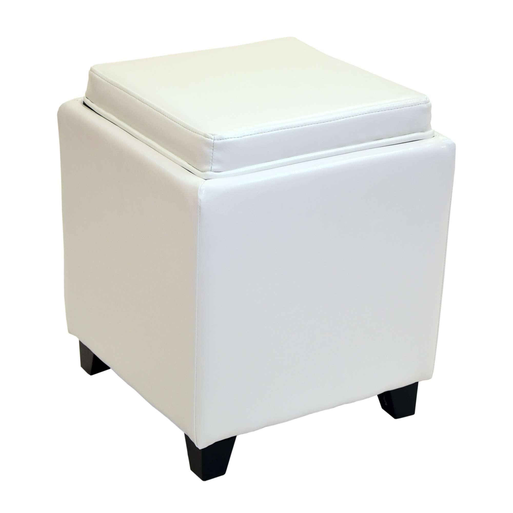 Contemporary Storage White Ottoman With Tray