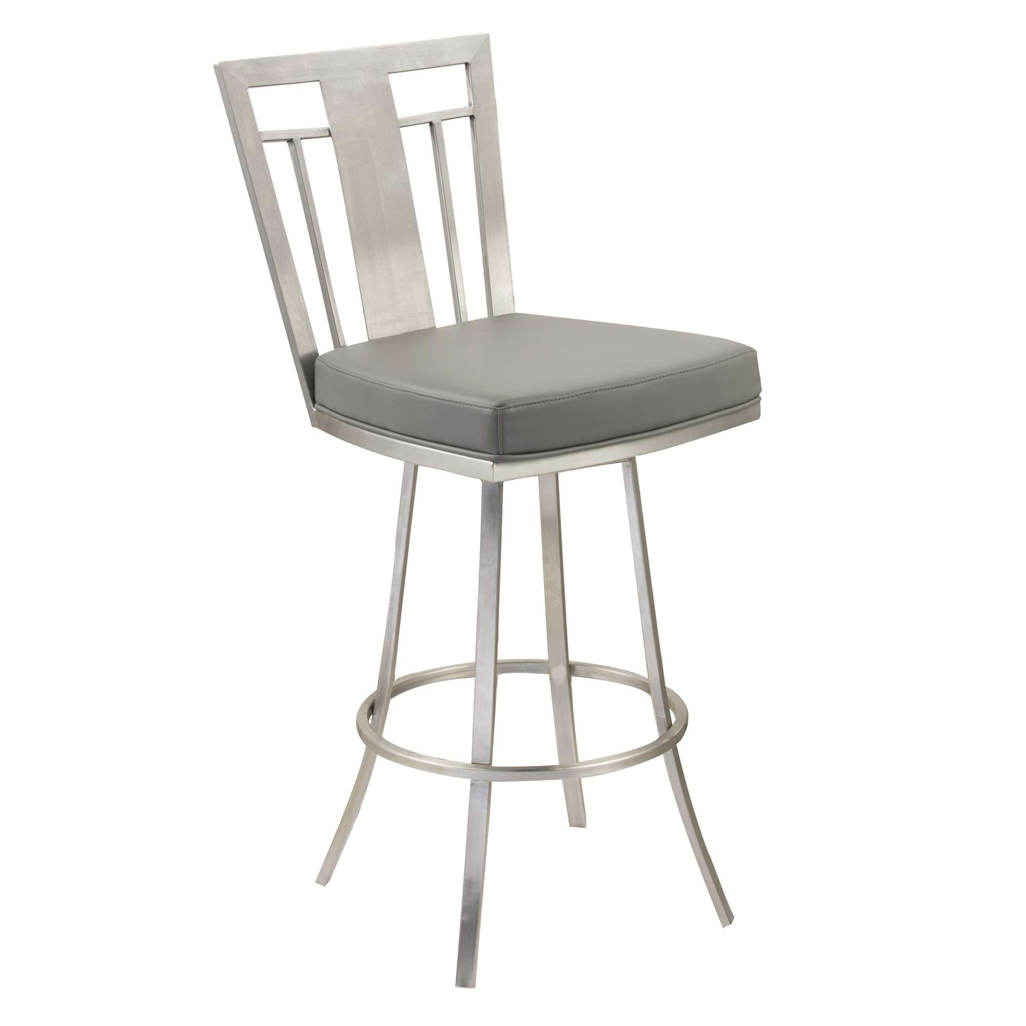 "Cleo Gray and Stainless Steel 30"" Modern Swivel Barstool"