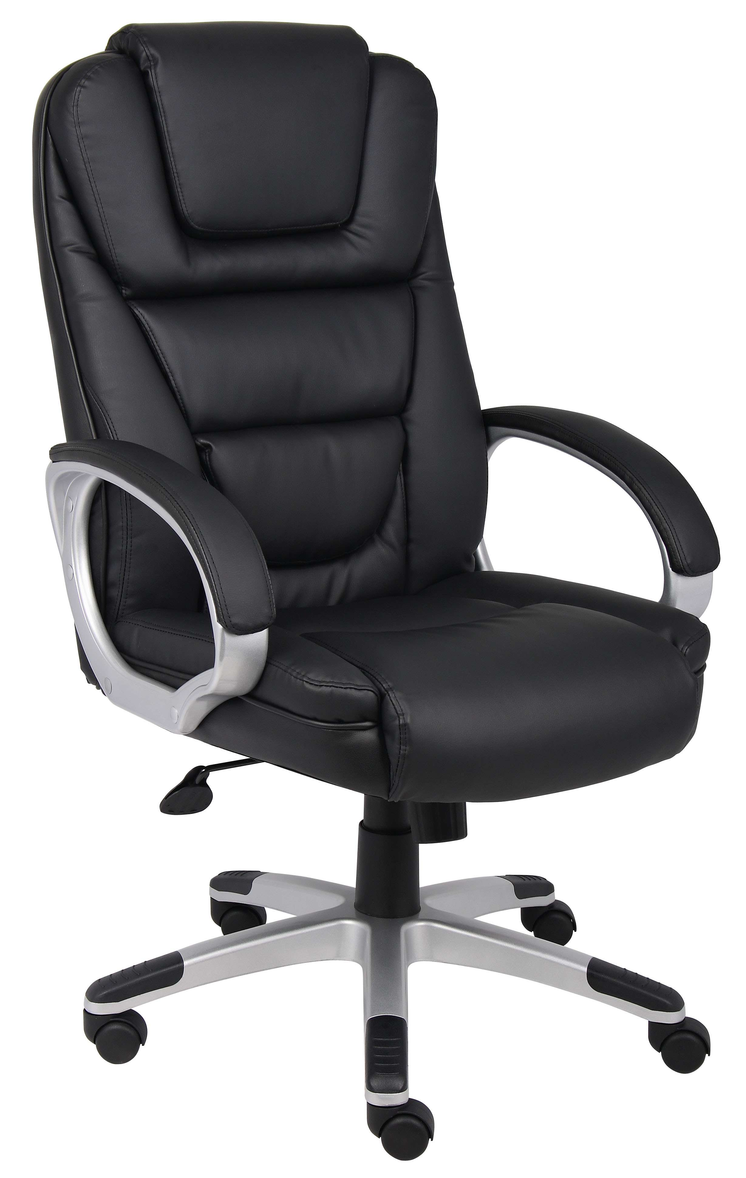 NTR Black LeatherPlus Executive Chair in Silver Finish