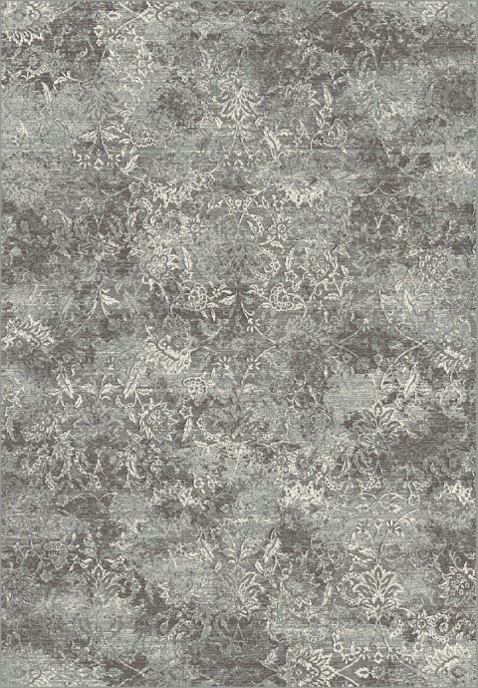 Regal Grey & Silver Distressed 2.2'x7.7' Rectangle Rug