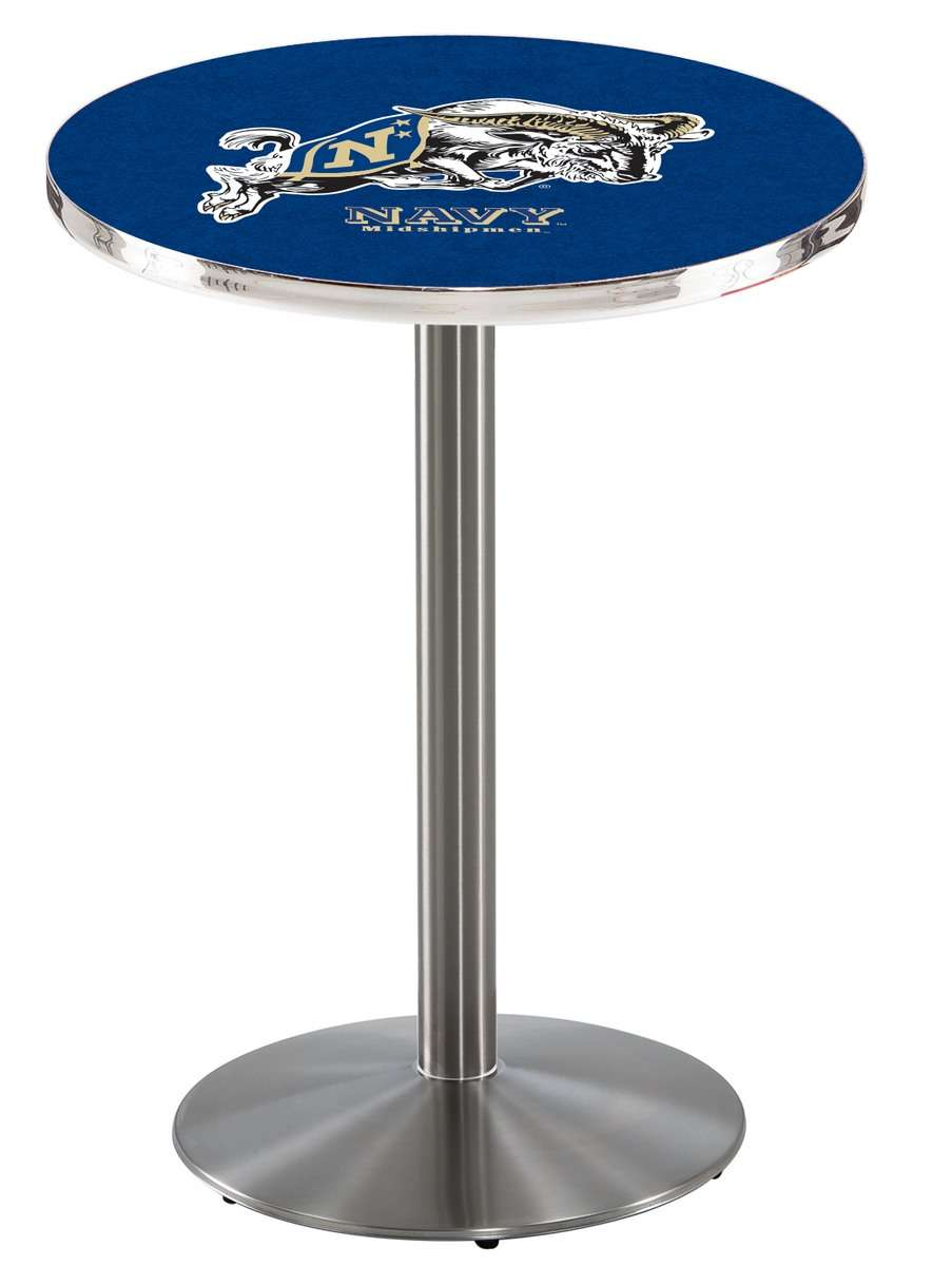 """36"""" Stainless Steel US Naval Academy Pub Table with Round Base"""