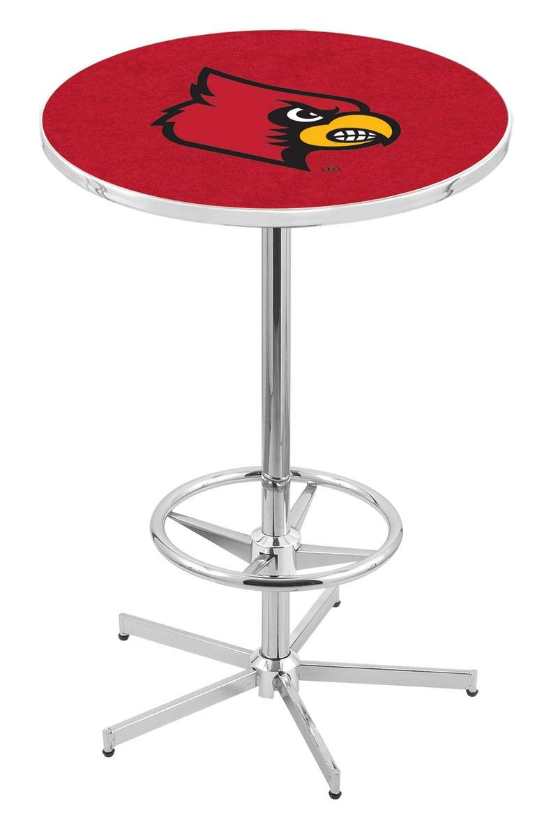 "42"" Chrome University of Louisville Pub Table with Foot Ring"