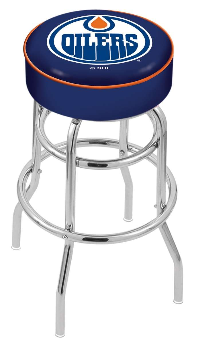 "30"" Edmonton Oilers Cushion Seat Swivel Bar Stool with Double-Ring Chrome Base"