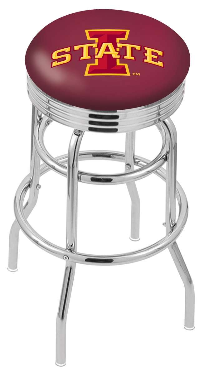 """25"""" Chrome Iowa State University Double-Ring Swivel Bar Stool with 2.5"""" Ribbed Accent Ring"""