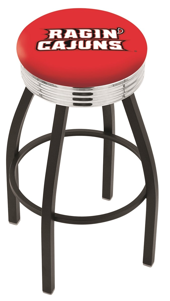 """30"""" Black Wrinkle University of Louisiana at Lafayette Swivel Bar Stool with Chrome 2.5"""" Ribbed Accent Ring"""