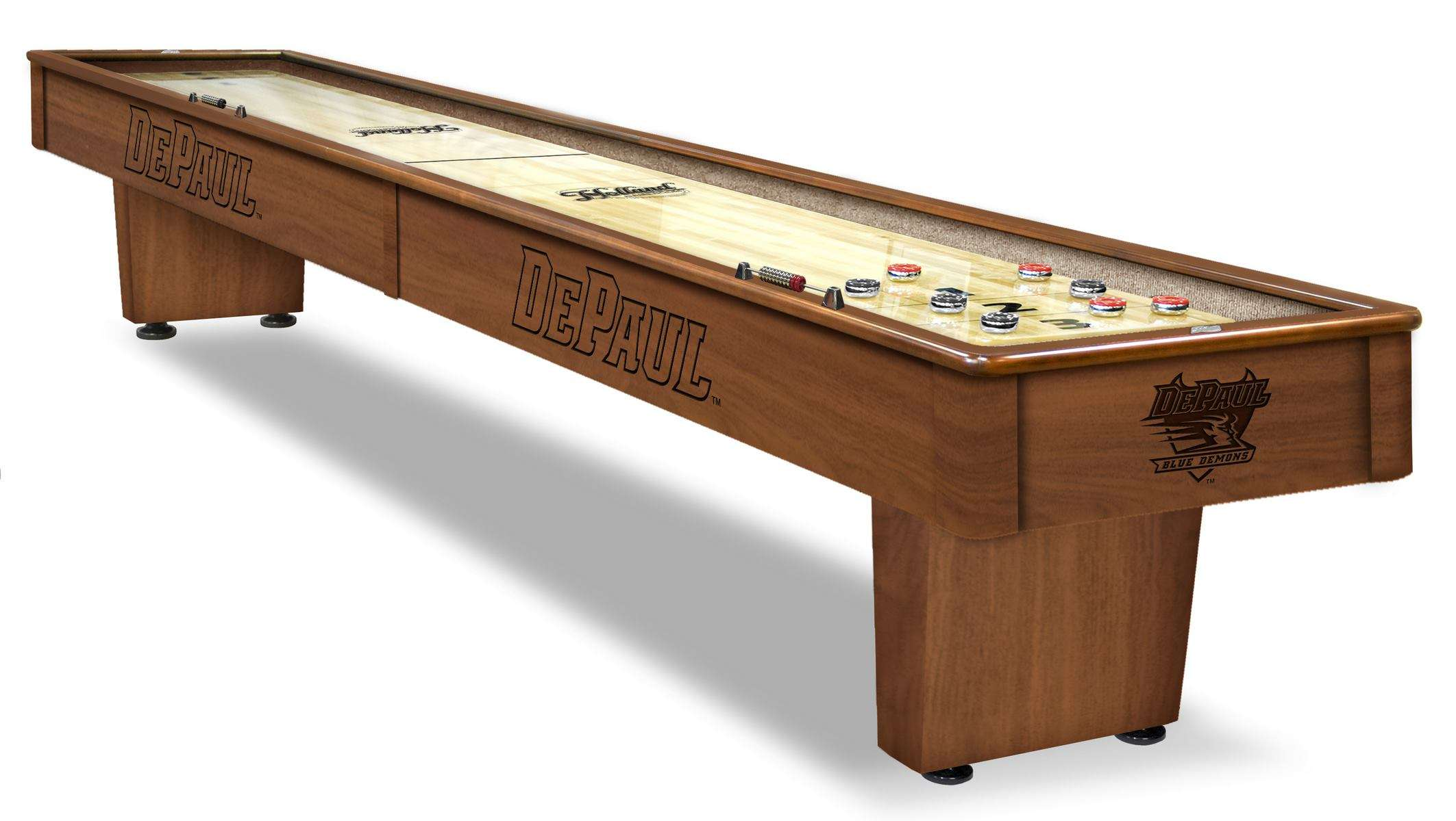 12' DePaul University Shuffleboard Table in Chardonnay Finish