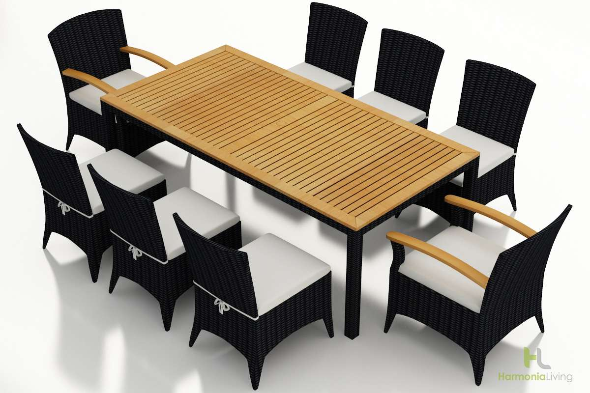 Arbor 9-Piece Dining Set with Canvas Natural Cushions