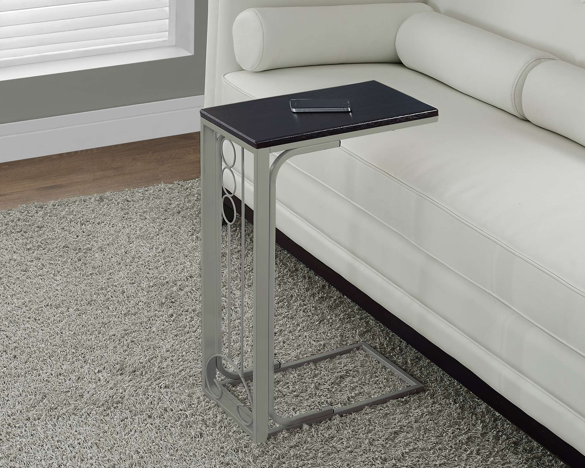 Cappuccino Accent Table with Champagne Metal Frame
