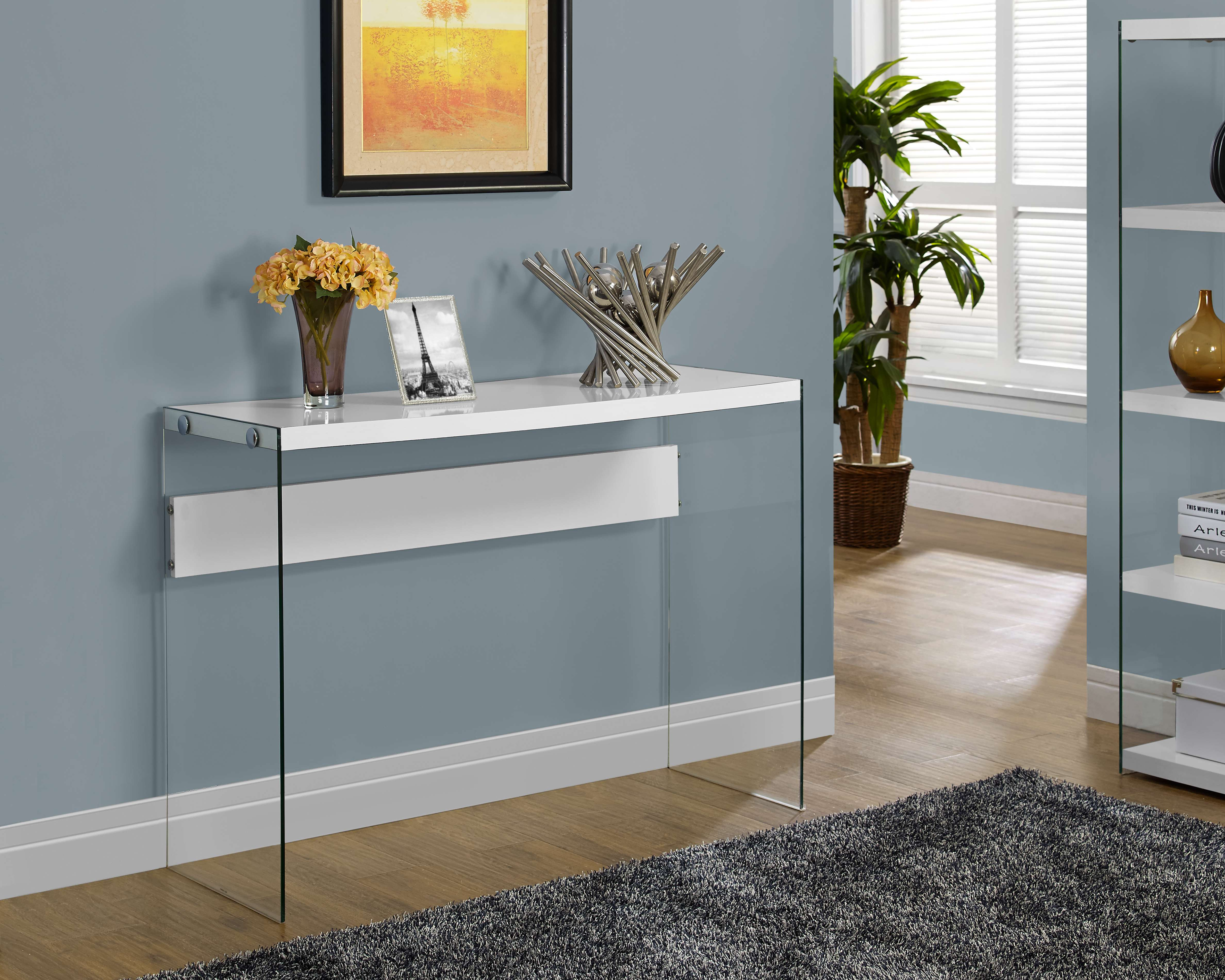 Glossy White Console Table with Glass Frame