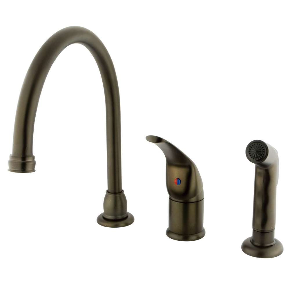 Chatham Oil Rubbed Bronze Single Handle Kitchen Faucet with Plastic Side Sprayer