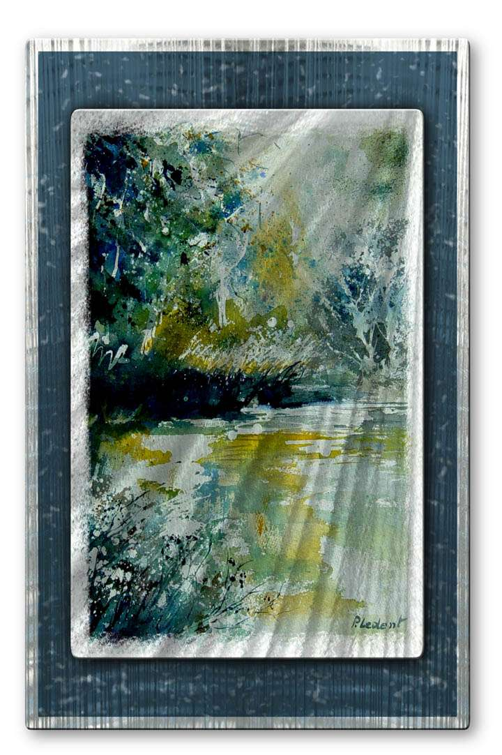 "23"" x 35.5"" ""Peaceful River"" Metal Wall Art by Pol Ledent"