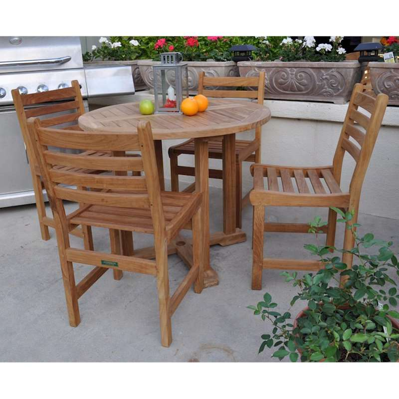Wyndham 5 Piece Outdoor Dining Set with Straight Legs