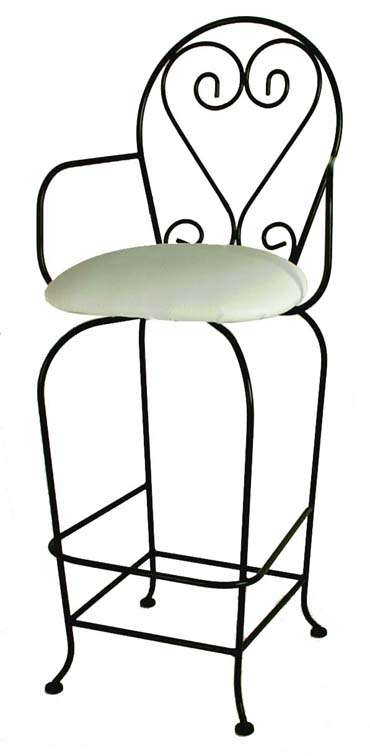 """Satin Black 24"""" French Quarter Barstool with Arms"""