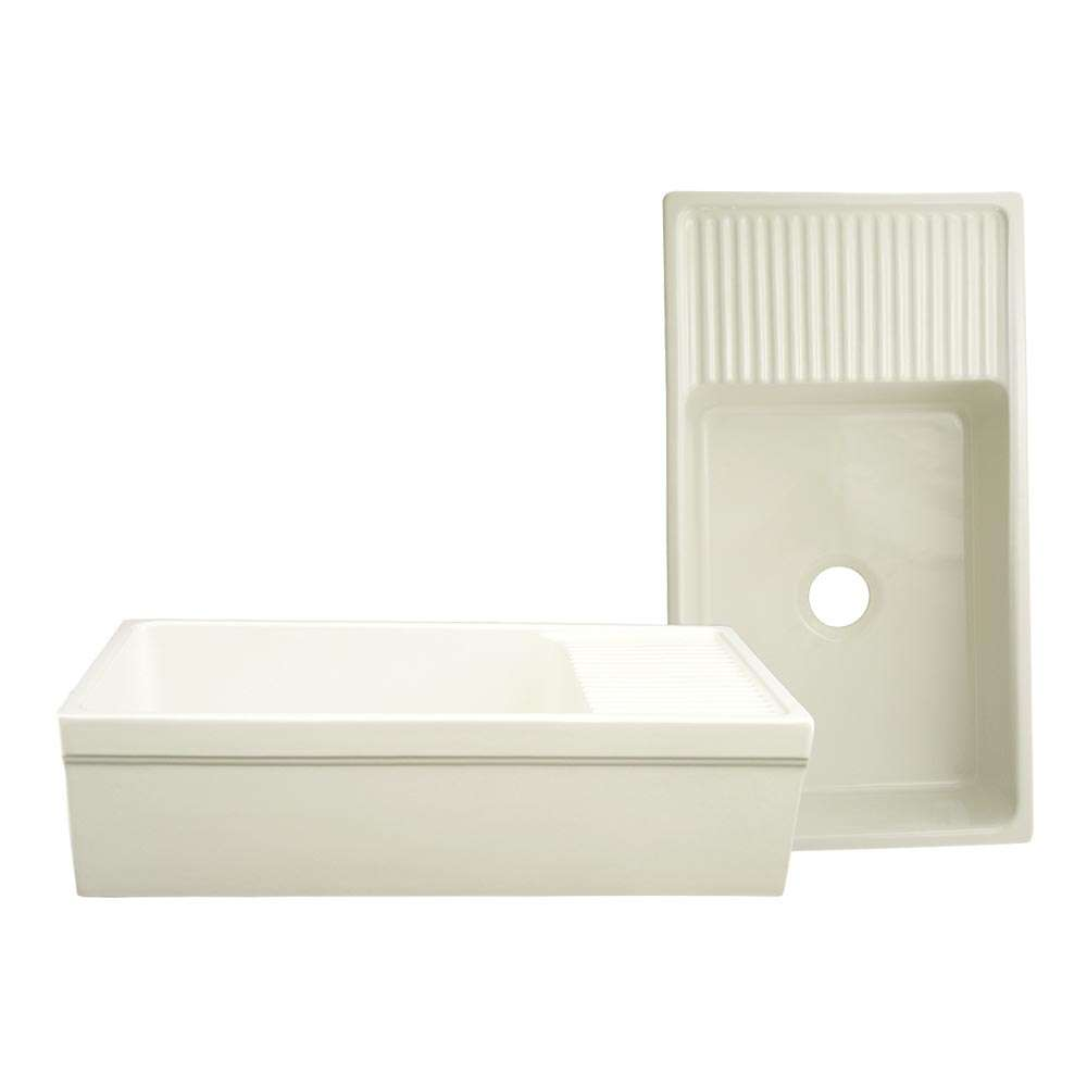 Quatro Alcove Biscuit Large Reversible Fireclay Sink