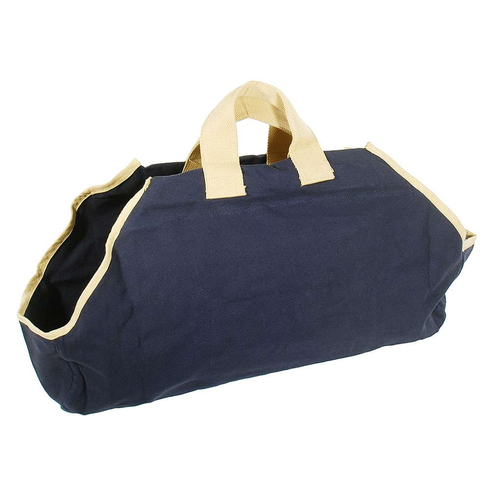 Navy Canvas Log Carrier with Tan Trim