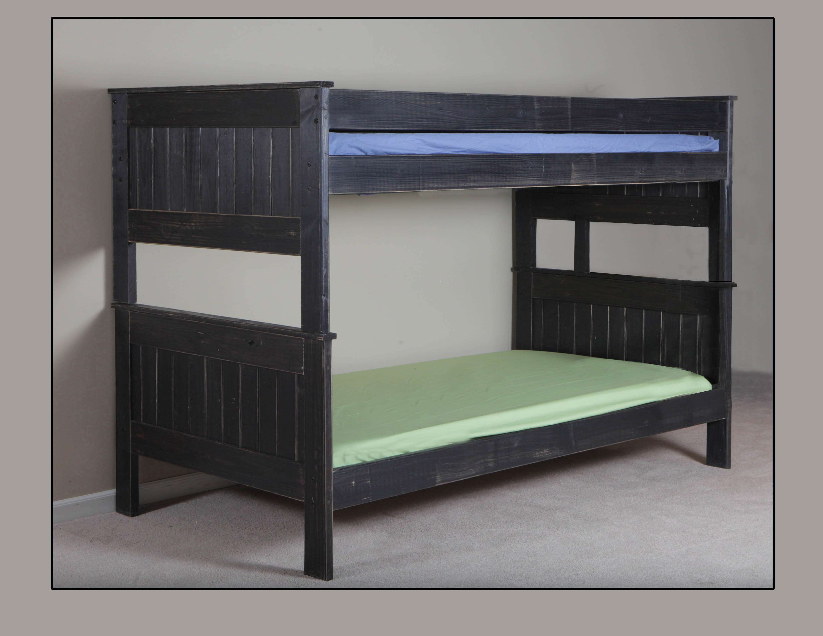Chelsea Home Distressed Black Twin Over Twin Stackable Bunk Bed