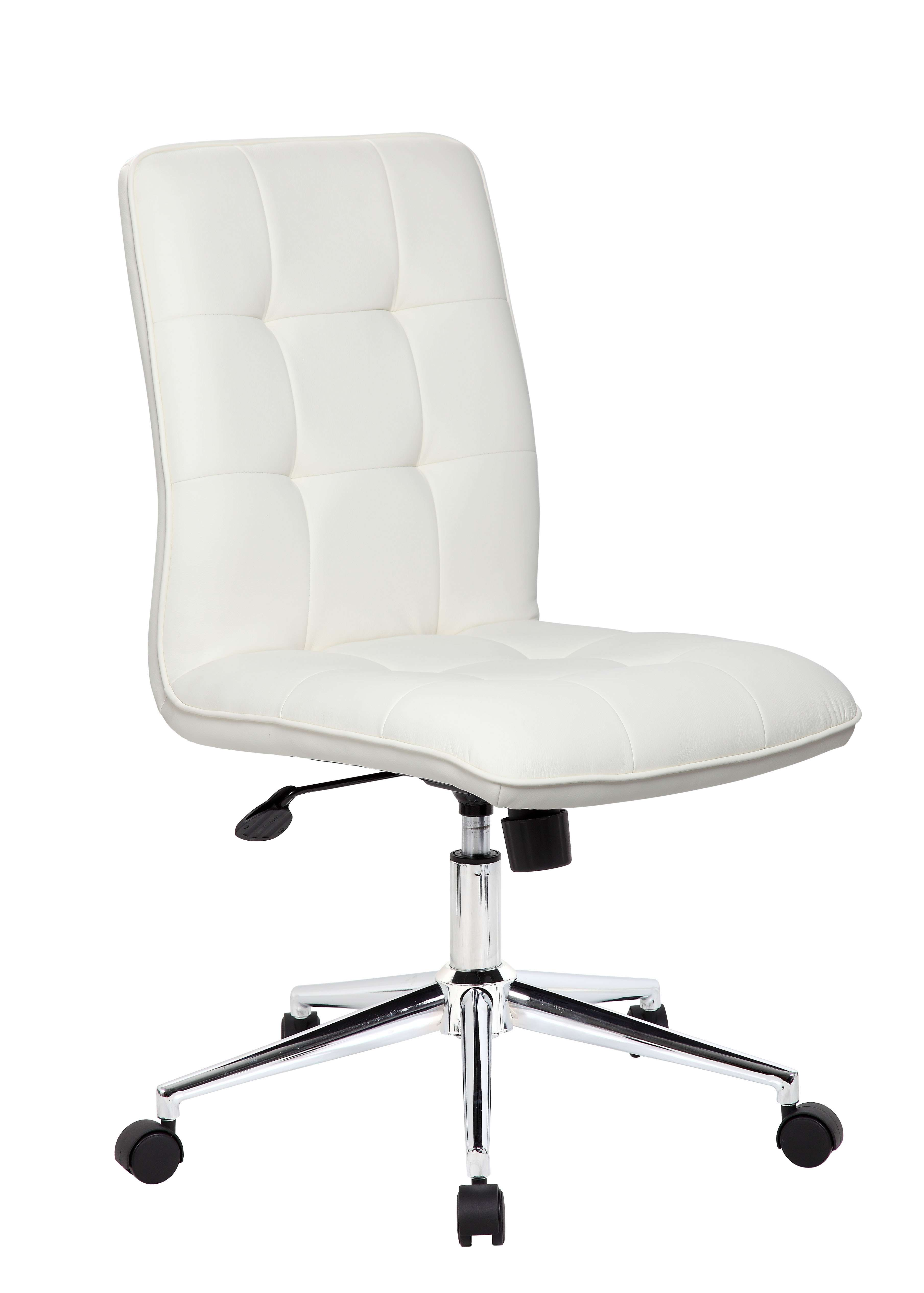 Attrayant Boss Office Products B330 WT. White Modern Office Chair In Chrome Finish