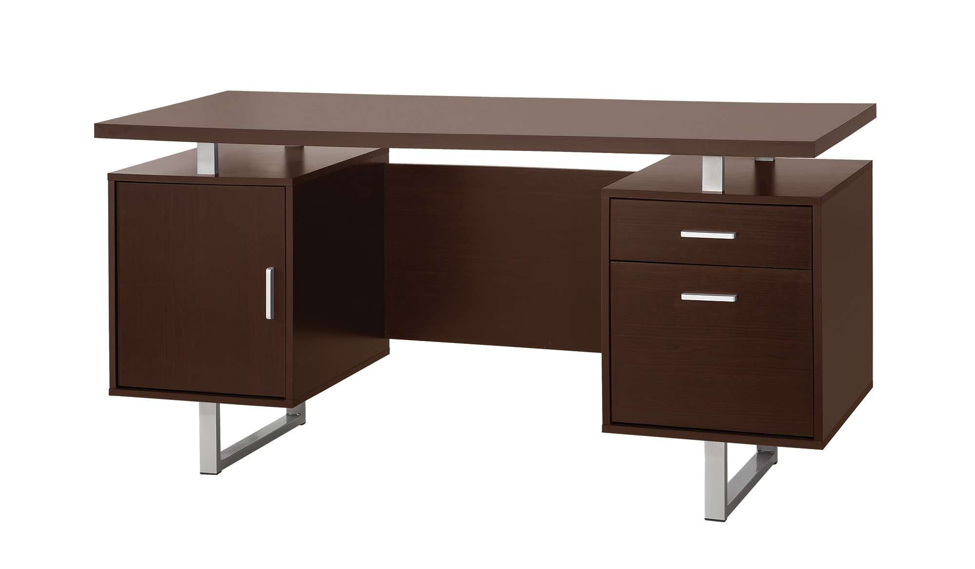 Glavan Cappuccino Double Pedestal Office Desk With Metal Sled Legs And Floating Top