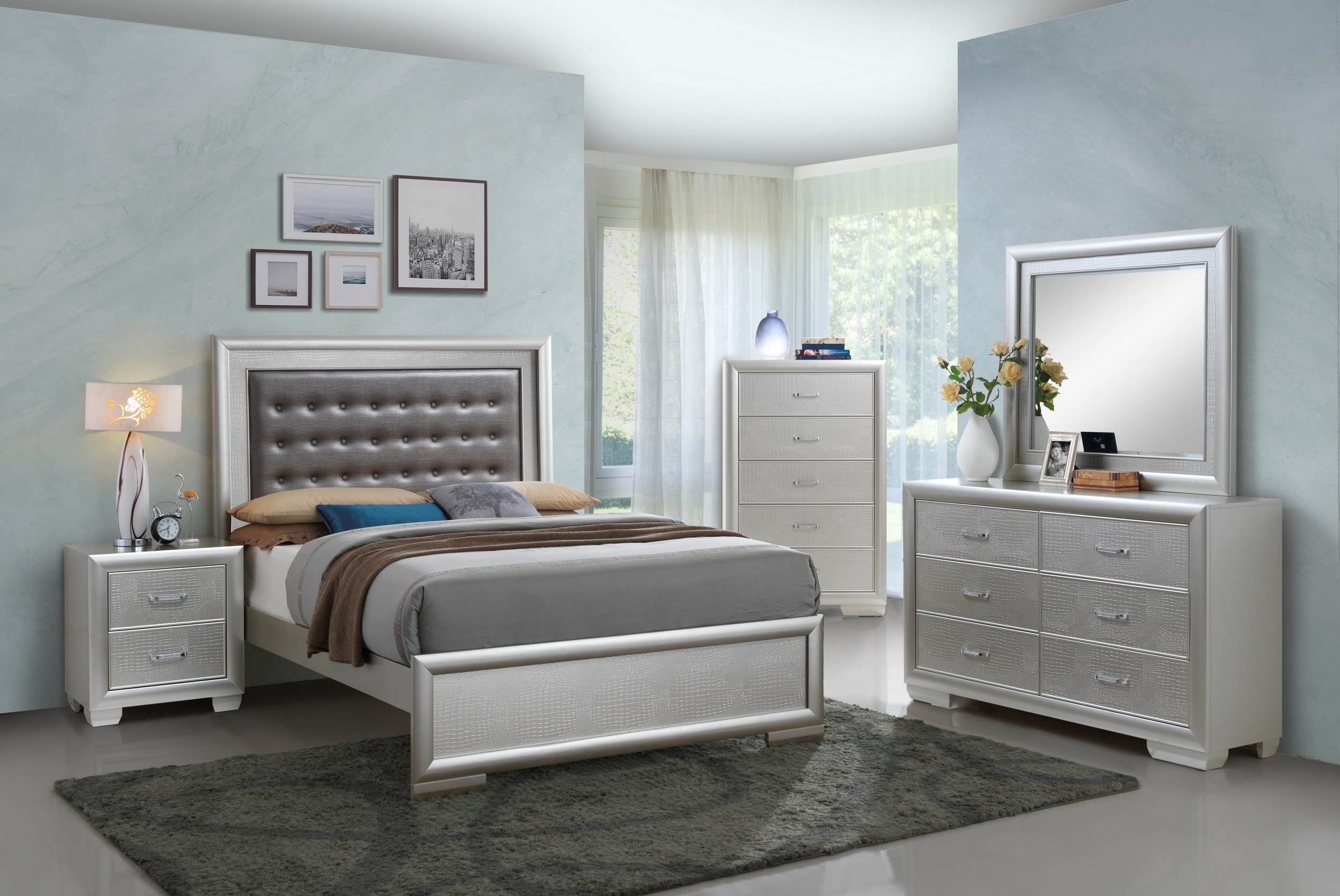 Glory Vella Silver Champagne Queen 5-Piece Bedroom Set & Reviews -  Goedekers.com